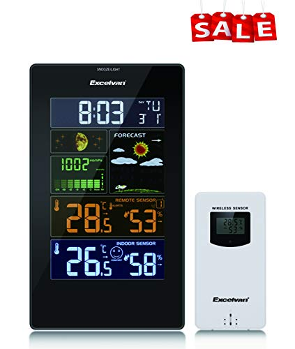 Excelvan Digital Wireless Wetterstation mit Funkuhr, Weckfunktion, Mondphase, Farbdisplay, Innen- und Außensensoren, Temperaturanzeige, Wettervorhersage, Kalender, 60m / 200ft Reichweite