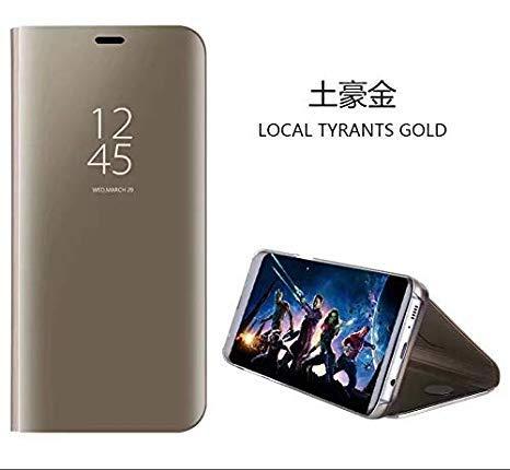 hyujia Compatible para Xiaomi Redmi S2/Y2 Carcasa 2018/Funda Inteligente Fecha/Hora Ver Espejo tirón del Caso Soporte Plegable/Duro Shell Teléfono Case Cover para Xiaomi Redmi S2 Oro