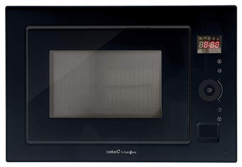 Einbau Mikrowelle Schwarz Glas 25L mit Grill,Mikrowellengerät Luxus Herstellers Cata & Can Roca, 1000W Grill, Full TouchControl Steuerung,Timer,8 automatische Menü - Vorschläge,Innenraum in Edelstahl