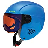 ALPINA Kinder Carat Le Visor HM Skihelm, Blue-neon-Yellow matt, 54-58 cm