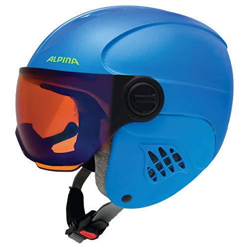 ALPINA Kinder Carat Le Visor HM Skihelm, Blue-neon-Yellow matt, 51-55 cm
