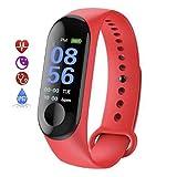 Braccialetto intelligente impermeabile - Sport, frequenza cardiaca, monitor della pressione sanguigna, fitness, Tracker attività - Rosso