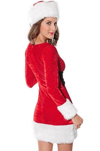 2PC-Frau Santa Claus Kostüm Lady Weihnachten Kleid Weihnachten Kostüm,Size (Kostüme Santa Lady)
