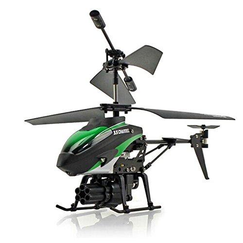 Faironly 2-Motors Mini ferngesteuertes Flugzeug mit 6 Raketen Kinder Kunststoff Hubschrauber Spielzeug grün