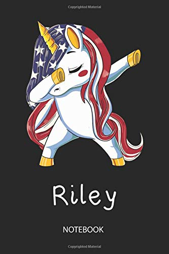 Riley - Notebook: Blank Lined Personalized & Customized Name Patriotic USA Flag Hair Dabbing Unicorn Notebook / Journal for Girls & Women called ... Birthday, Christmas & Name Day Gift Idea. Dragon Riley Stripe