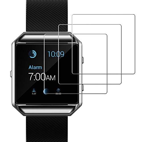 JETech Schutzfolie für Fitbit Blaze Intelligent Armband, Gehärtetem Glas Panzerglas Displayschutzfolie, 3 Stück