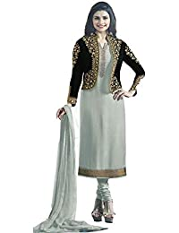 Ethnic Wings Women Satin Georgette Anarkali Semi-Stitched Salwar Suit (EW& ET_ER10784_Light Gray_Free Size)