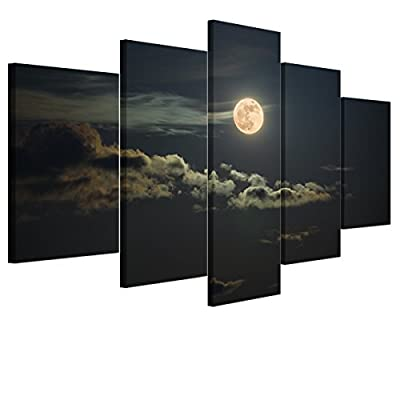 UNIQUEBELLA The moon Modern Print on Canvas, Large Wall art Pictures Poster Print painting for Home decoration - inexpensive UK light store.