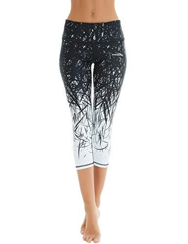 COOLOMG Damen Sport Leggings Yoga Hosen-Fitnesshose, B-schwarz- weiß (Capri), Gr.-L