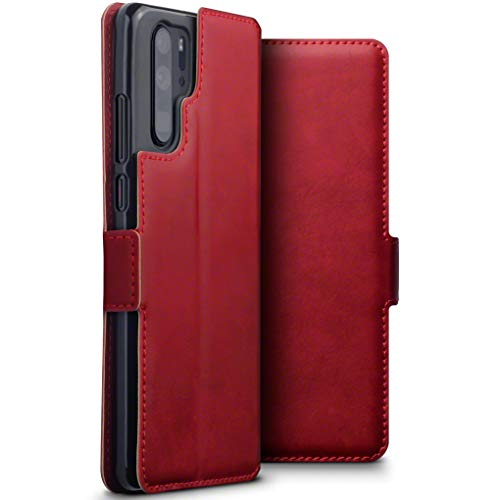 TERRAPIN, Kompatibel mit Huawei P30 Pro Hülle, ECHT Spaltleder Börsen Tasche - Slim Fit - Betrachtungsstand - Kartenschlitze - Rot