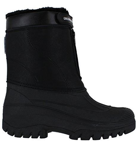 Groundwork LS88- Stivali in gomma da donna, per stalla, fattoria di campagna o neve, con cerniera di chiusura Black (Faux Leather)