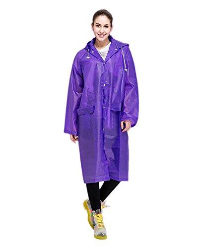 Keleidun Imperméable transparent à capuche, unisexe, long jusqu'au genou, taille au choix Violet