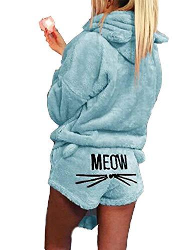 Teaio Fleece Schlafanzug Damen Winter Kurz Hausanzug mit Kapuze Süß Pyjama aus Fleecepullover und Kurzhose Nachtwäsche Große Größen Sleepwear Women Warm Nachthemd Zweiteilig Blau S