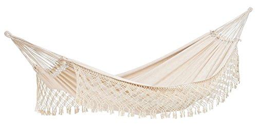 AMAZONAS XXL Luxus Hängematte Rio (Jacquard) handgefertigt in Brasilien 250cm x 160cm bis 200kg in Weiß