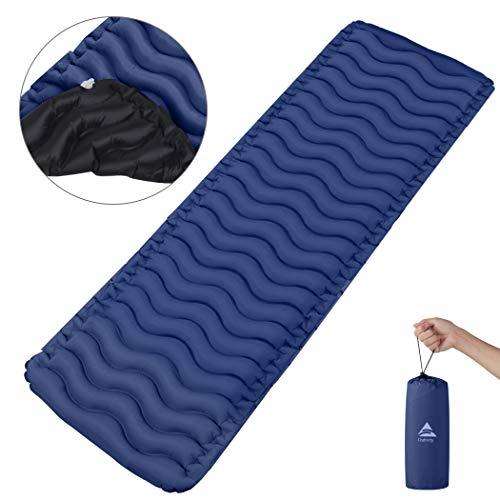 Outivity Camping Isomatte,Ultraleicht Isomatte Aufblasbare Isomatte Luftmatratze Kleines Packmaß Schlafmatte für Camping,Outdoor,Wandern,Strand - Vergrößern Größe (205cm * 65cm * 6cm) (Dunkelblau)