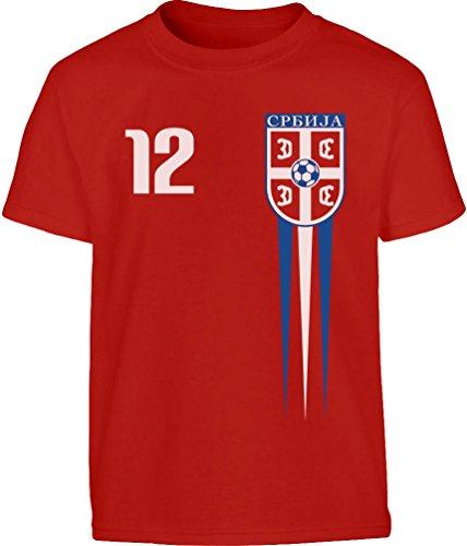 Serbisches Kinder Fantrikot Fanshirt WM 2020 Kleinkind Kinder Jungen T-Shirt 104 (3-4J) Rot