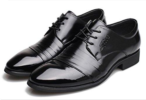 WZG robe d'affaires chaussures en cuir Chaussures Les hommes nouveaux première couche de cuir dentelle hommes noirs 8 Black