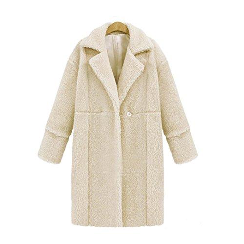 OverDose Mélange de dames en laine Veste de survêtement Femmes Surdimensionné Long Coat Plus Tailles Beige