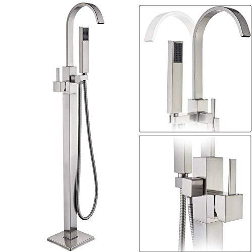 ACZZ Wasserfall Auslauf Bodenmontage Badewanne Wasserhahn mit Handbrause Nickel gebürstet Freistehende Badewanne Mischbatterien Waschtischarmatur Geschenk