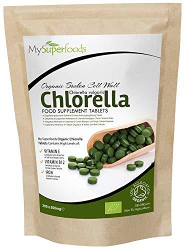 Comprimidos De Clorela De Pared Celular Rota Orgánica | (300 x 500mg) | MySuperFoods | Increíble alto contenido de Clorofila | Repleto de nutrientes | certificado como producto orgánico | Saludable Alga comestible | Agregue a bebidas y smoothies