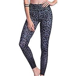 Mujeres Largos Pantalones Casual Deportiva Pantalón Moda Estampado Leopardo Apretado Trousers Leggings de Yoga Trotar