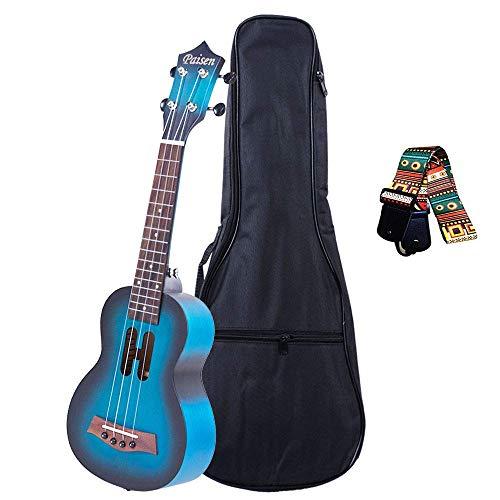 Paisen 21-Zoll-süße blaue Sopran-Ukulele für Anfänger und Kinder mit dick gepolsterter Ukulele-Tasche, folkloristischem Gurt, bestes Geschenk