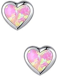 Arco Iris Jewelry Pendientes de plata para las mujeres, Corazón con rosa del ópalo de fuego Semental Pendiente - SC073e7