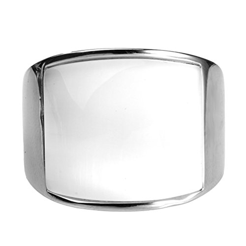 n Herren Mosaik Katzenauge Stein Edelstahl Opal Ringe, Weit, Silber und Weiß, Größe 57 (18.1) ()