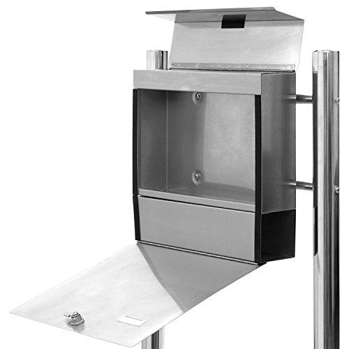 Hochwertiger V2A Edelstahl Standbriefkasten mit Zeitungsfach, 120 cm hoch, Gewicht 5,4 kg - 4
