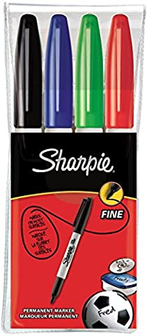Sharpie Fine Point Permanent Marker - Assorted Standard Colours, Wallet of 4