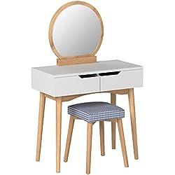 SONGMICS Coiffeuse, Table de maquillage avec Miroir et Tabouret, Table de maquillage avec 2 spacieux Tiroirs coulissants, Housse de tabouret détachable et lavable, Naturel et Blanc RDT11K