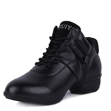 Frauen Tanzschuhe Leder Jazz Heels Chunky Heel Performance Black