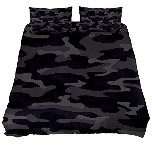 Buyxbn Camouflage Grau 3-teiliges Bettwäsche-Set Bedruckt Tröster Bezug mit 2 Kissenbezügen Bettwäsche Dekoration für Teenager Kinder Jungen Mädchen Erwachsene, Color-1, Full 200 x 226 (x 75 cm -