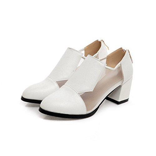AgooLar Damen Spitz Zehe Mittler Absatz Rein Reißverschluss Pumps Schuhe Weiß