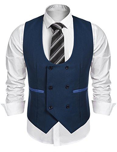 Burlady Herren Western Weste Herren Anzug Weste V-Ausschnitt Ärmellose Westen Slim Fit Anzug Business Hochzeit, Z-blau, M