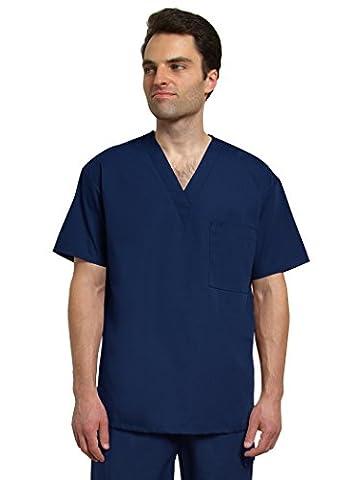 Adar Mens V Neck Tunic Top 1 Pocket Medical Hospital Nurse Scrub - 6011 - Navy - M