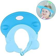 LeRan Champú Ajustable Sombreros Gorro de baño de silicona suave para adultos o niños (azul