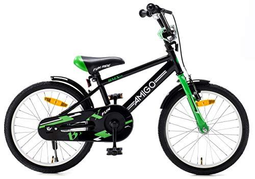 Amigo {KINDERFAHRRAD} Jungenfahrrad | 18 Zoll BMX| Stahl Fahrrad | Geschenk für Jungen| ab 5 Jahre | Schwarz Grün | Modell 2018 |