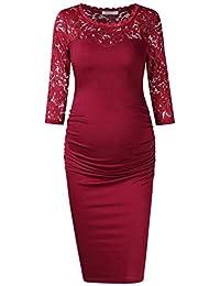 KOJOOIN Damen umstandskleid Schwangerschafts Kleider,Lange ärmel elegentes  Kleid Knielang bf65c8151c