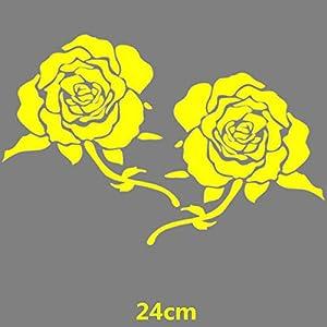 HANO CarFlowers Schöne rote Rose Kreative Abziehbilder Cyter Auto Tuning Styling Wasserdicht 15 * 14cm & amp; 24 * 23cm Duad D11: 24x23 Yellow