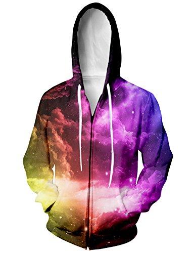 BFUSTYLE Frauen Lila Nebula Print Hipster-Neuheit-Sweatshirt-Jacke (Jacke Neuheit Mädchen)