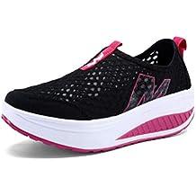 Calzado Deportivo para Mujer Zapatos para Aumentar La Altura Slip-On GeoméTricos Mocasines Respirable Malla