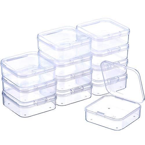 12 Packung Kleine Rechteck Klar Kunststoffbehälter Box mit Aufklappbaren Deckel Bead Aufbewahrungsbox Case für Kleine Perle, Schmuck, Pillen, Uhrenteile (2,12 x 2,12 x 0,79 Zoll)