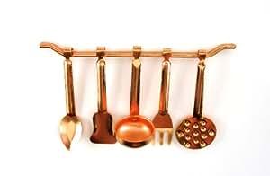 Dolls House Miniature Kitchen Accessory Copper Hanging Utensils & Rack 5055