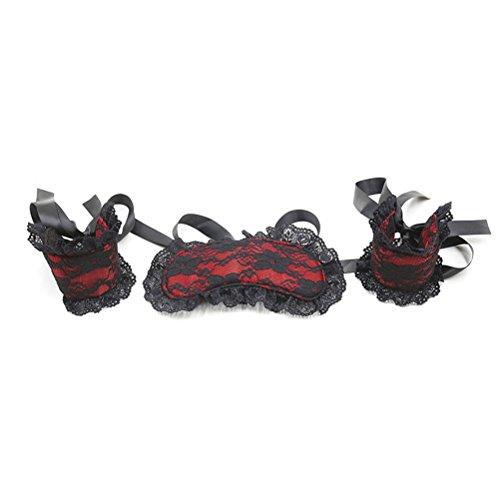 Rapidly Augenmaske und Handschellen für Paare Bett Fesseln SM Augenbinde Restraint Kits (Rot)