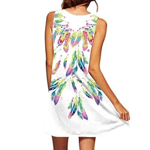 VEMOW Vintage Boho Frauen Sommerkleider Sleeveless Strand Gedruckt Kurzes Minikleid Eine Linie Abendkleid Täglich beiläufige Partei Weste T-Shirt Kleid Plus Size Rock(X1Weiß 14, EU-40/CN-S) - Jean-rock Für Plus Frauen Size