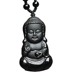Colgante de pequeño Buda, collar fabricado a partir de obsidiana natural negra, Avalokiteshvara