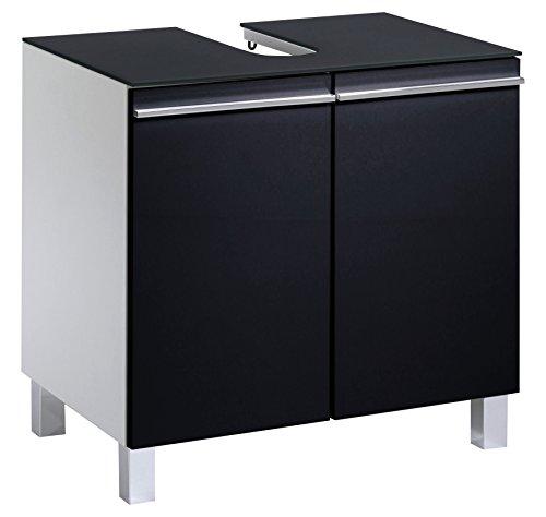Cavadore Waschbeckenunterschrank Sleek 05 / Hochglanz Schwarz Weiß / mit moderner Glasablage / inkl. zwei Türen & Soft-Close Funktion / 41 x 60 x 57 cm (T x B x H)