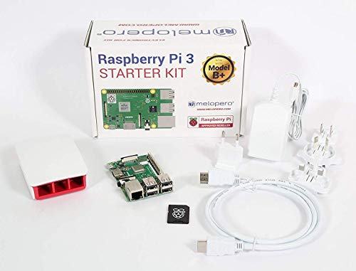 Melopero Raspberry Pi 3 Model B+ Official Starter Kit White con 16GB microSD (con Raspbian)