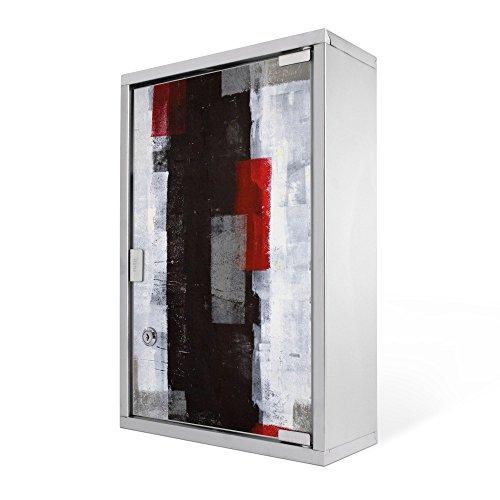 #Medizinschrank groß Edelstahl abschliessbar 30x45x12cm Arzneischrank Medikamentenschrank Hausapotheke Erste Hilfe Schrank Motiv Abstrakt Rot#